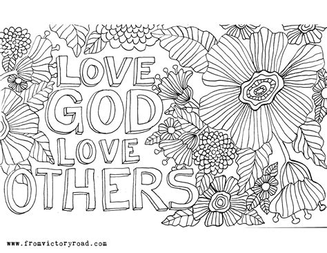 coloring page love god love god love others from victory road
