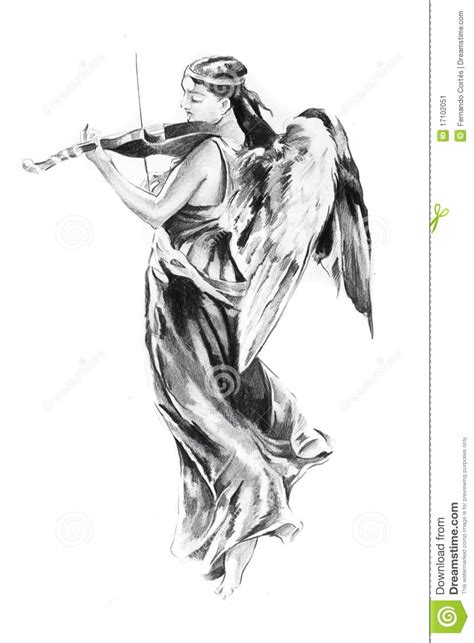 sketch of tattoo art angel stock illustration image