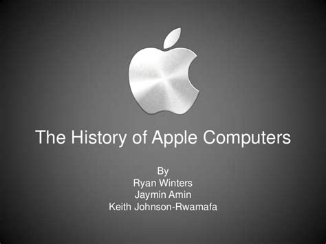 Presentation On The History Of Apple Computers Apple Inc Powerpoint