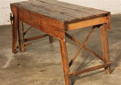 Primitive Dining Table Primitive Industrial Farmhouse Style Dining Table Workbench With Wood Vise Leg For Sale At 1stdibs