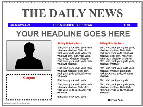 word newspaper template school newspaper template kids
