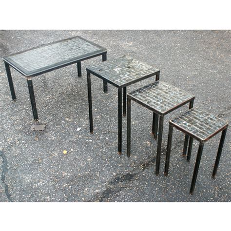 4 vintage nesting coffee side patio tables ebay