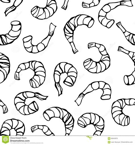 seamless pattern hand drawn seafood seafood seamless pattern shrimp or prawn isolated on a