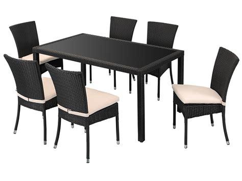 table et chaise resine tressee salon jardin noir quot celia quot en r 233 sine tress 233 e 1 table 6 chaises 58689