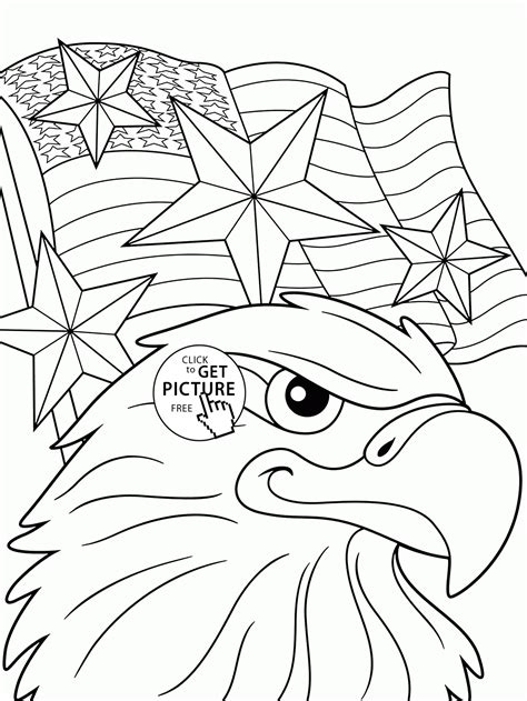eagle and independence day of america coloring page for
