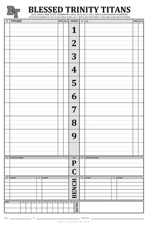 Dugout Lineup Card Template by Custom High School Baseball Dugout Cards Charts With