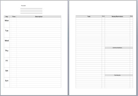 daily planner template a5 weekly planner template word philofaxy a5 undated diary