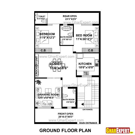 design expert half normal plot house plan for 30 feet by 51 feet plot plot size 170