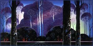 Christmas Decorations Purple - eyvind earle master of the trees dop
