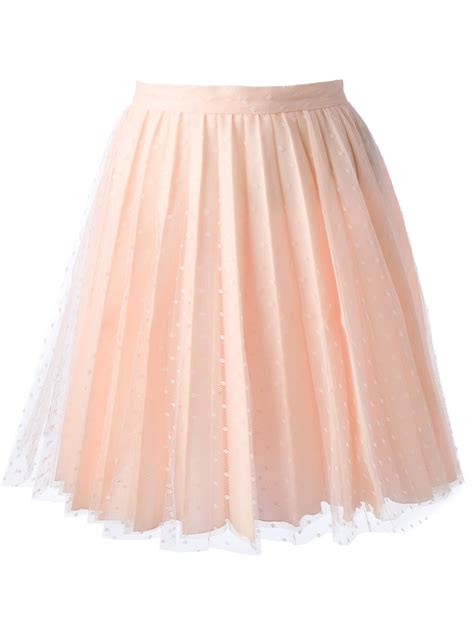 valentino pleated lace skirt in pink pink purple