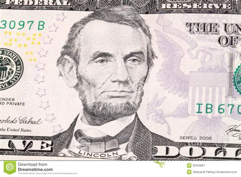 abraham lincoln on the five dollar bill abraham lincoln stock image image 30440961