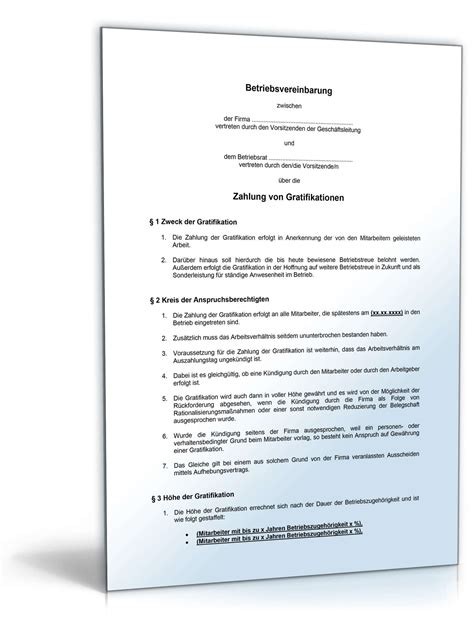 Bewerbung Gehaltsvorstellung Mit Weihnachtsgeld betriebsvereinbarung gratifikation muster vorlage zum