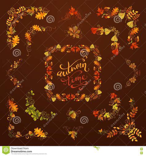 design elements set autumnal frames and design elements vector illustration