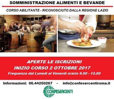 normativa somministrazione alimenti e bevande confesercenti roma organizza corso sab ex rec abilitante