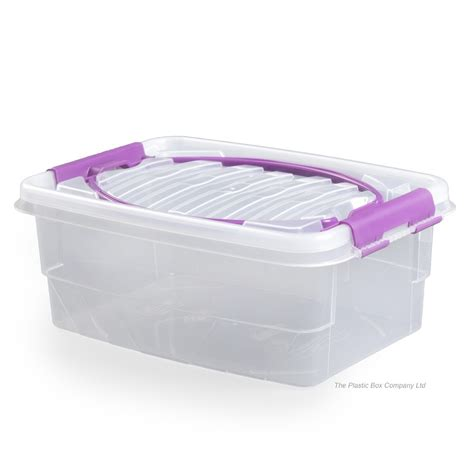 Storage Box With Lid plastic storage box container with clip on lid and handle
