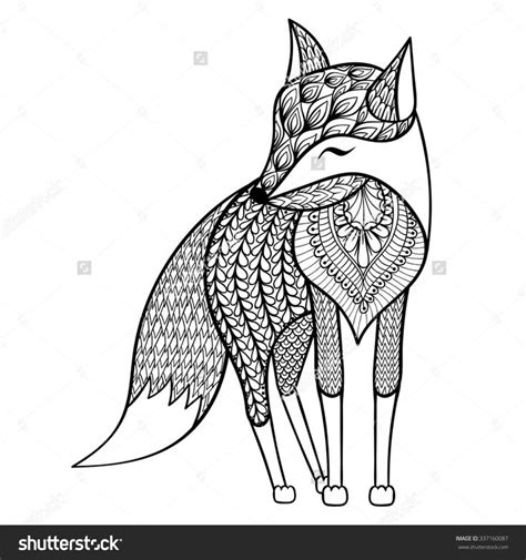 zentangle vector happy fox for anti stress coloring