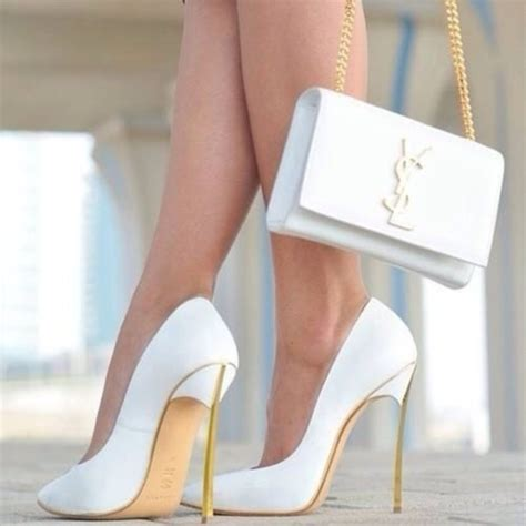 shoes escarpin blanc sac yves st laurent bag white