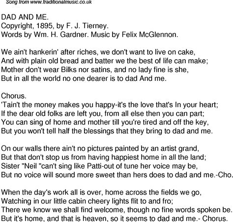 that makes me your dad lyrics old time song lyrics for 48 dad and me