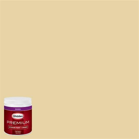 glidden premium 8 oz hdgy63u soft burnished gold eggshell interior paint with primer tester