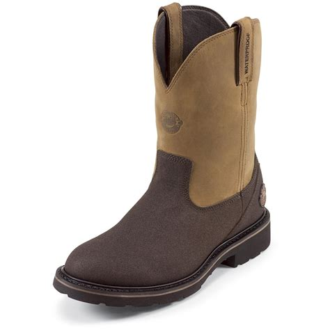 justin pull on work boots s justin 174 10 quot sonora work tex steel toe pull on