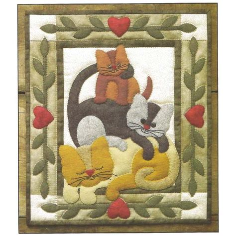 cat applique pattern wall hanging cat stack quilt kit rachels of greenfield cat stack