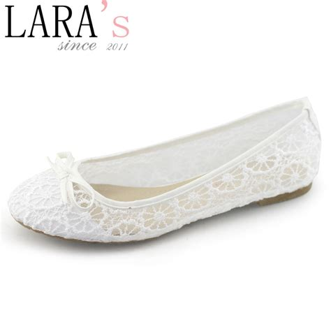 Womens Flat Wedding Shoes by Lara S Brand 2015 New Arrival Flats Shoe Lace White