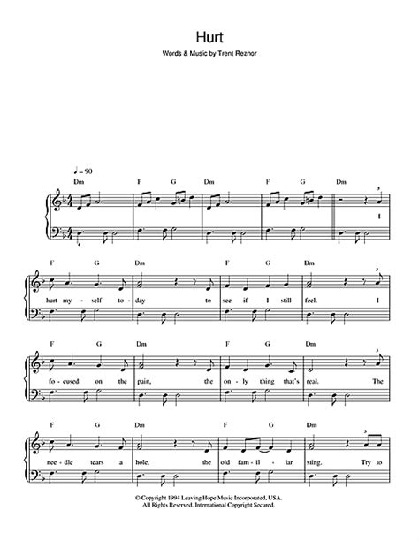 testo hurt johnny hurt sheet by johnny beginner piano 48785