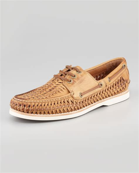 frye mens sneakers lyst frye sully woven boat shoe in brown for