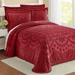 cotton chenille bedspread with latticework burgundy in