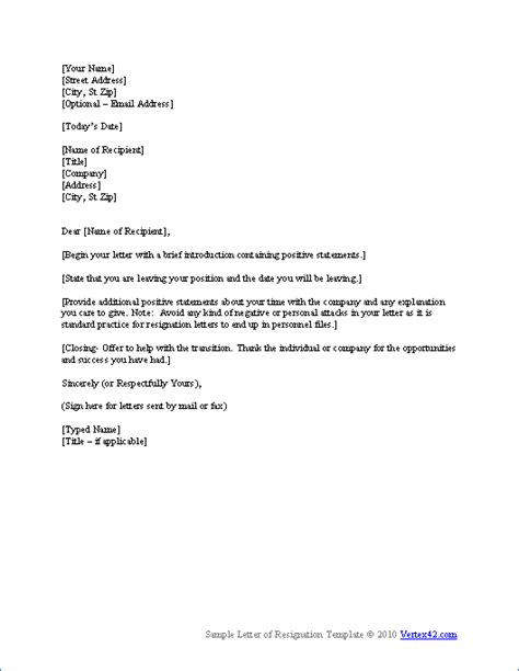 letter of resignation word resignation letter template