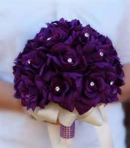 Bouquets bridal flower girl toss purple lavender rhinestone wedding