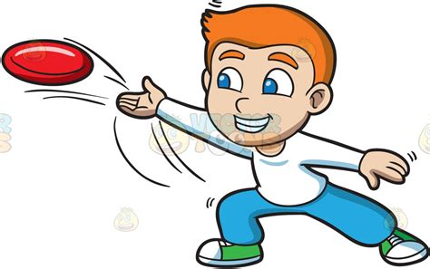 a boy throwing a frisbee clipart by vector