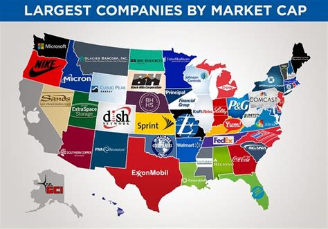 Locations Of The Major Corporate by This Map Shows The Biggest Company In Each State By Market