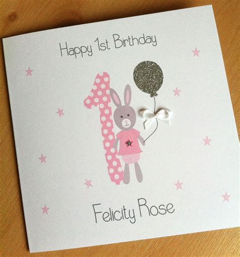 1st Birthday Cards Handmade Personalised 1st Birthday Card Girls First Fast
