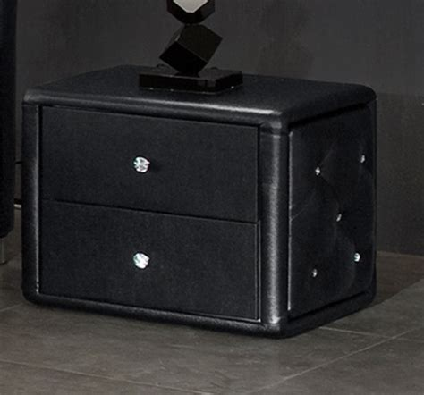 Bedside Drawers Black by Verona 2 Drawer Black Faux Leather Bedside