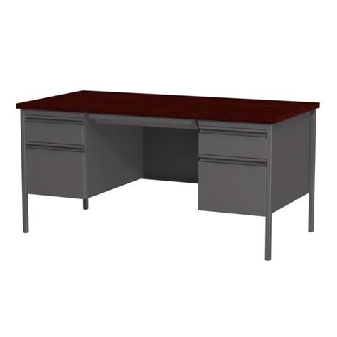 Double Pedestal Computer Desk In Charcoal And Mahogany 20102 Mahogany Computer Desk
