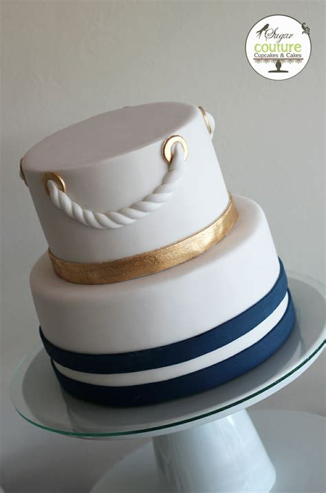 Nautical Bridal Shower Cakes by Nautical Wedding Cake Navy Blue Gold And White Cakes