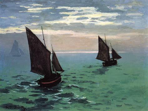 sea boat fishing boats at sea claude monet wikiart org