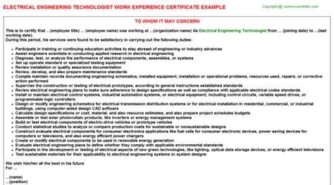 Experience Letter Of Electrical Engineer Electrical Engineer Work Experience Certificates