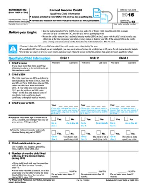 Eic Worksheet 2015 by 2015 Form Irs 1040 Schedule Eic Fill Printable