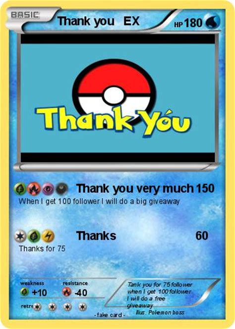 Thank You Card For Giveaways - pok 233 mon thank you ex thank you very much my pokemon card