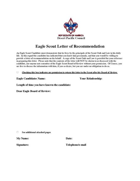 letter of recommendation for eagle scout template eagle scout recommendation letter sle eagle scout