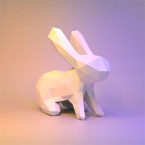 Papercraft Rabbit - paper craft low poly diy