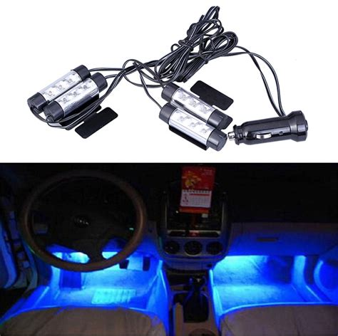 4 X 3led Car Charge Interior Accessories Atmosphere L Floor Decorat 1set car auto interior atmosphere light car charge 12v 4 x 3 led glow decorative 4 in1 blue
