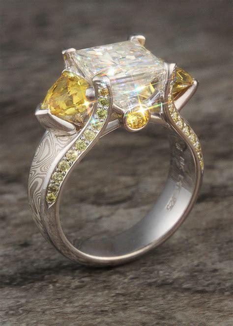 Luxury Engagement Rings by Mokume Gane Rings Alternative Luxury Wood Grain Wedding Bands