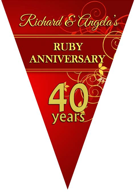 Ruby Wedding Banner by Personalised Ruby 40th Wedding Anniversary Flag Banner N9