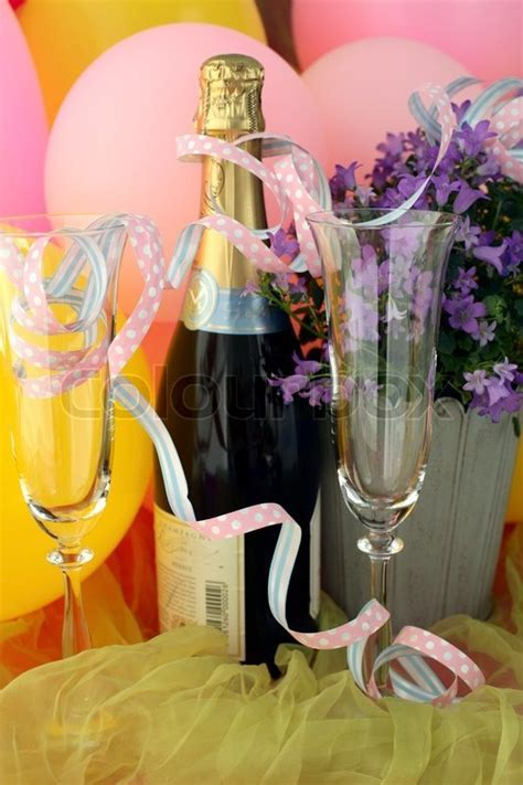 Champagne bottle, glasses and     Stock Photo   Colourbox