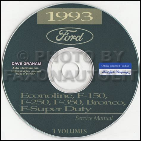 1993 ford van shop manual cd econoline e150 e250 e350 club wagon motorhome ebay