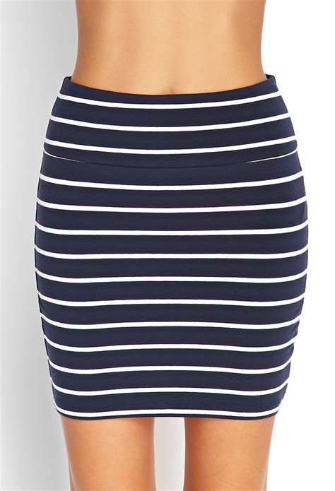 forever 21 nautical striped bodycon skirt in blue lyst