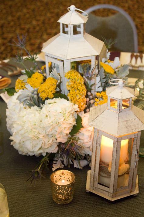 grey wedding centerpieces lantern centerpiece rustic yellow and gray wedding